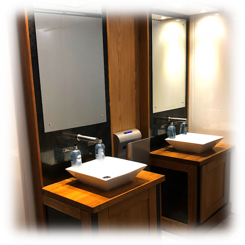 Hullabaloos luxury vanity with mirrors and lights units for hire