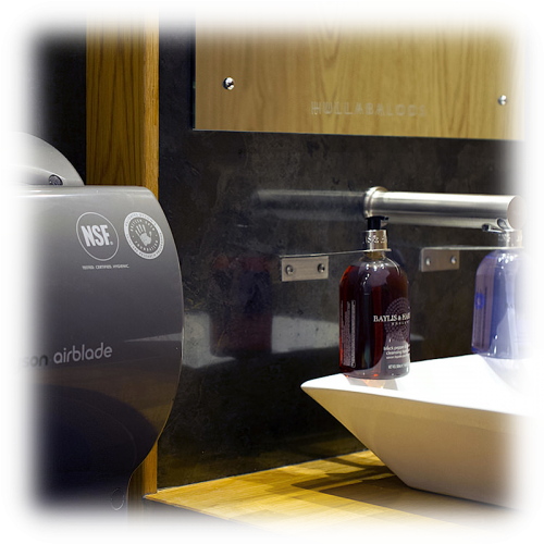 Hullabaloos vanity and hand dryer toilet for hire