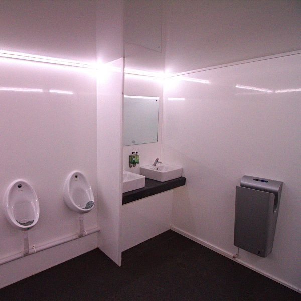 Inside view of 13 Bay Urinal POD unit for event industry