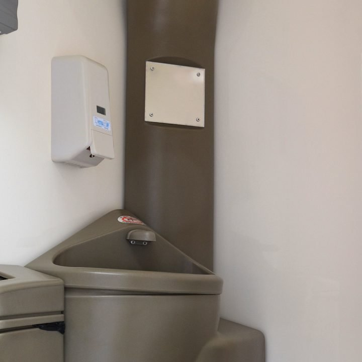 Inside 6 Bay Trailer Mounted Toilet for construction sites