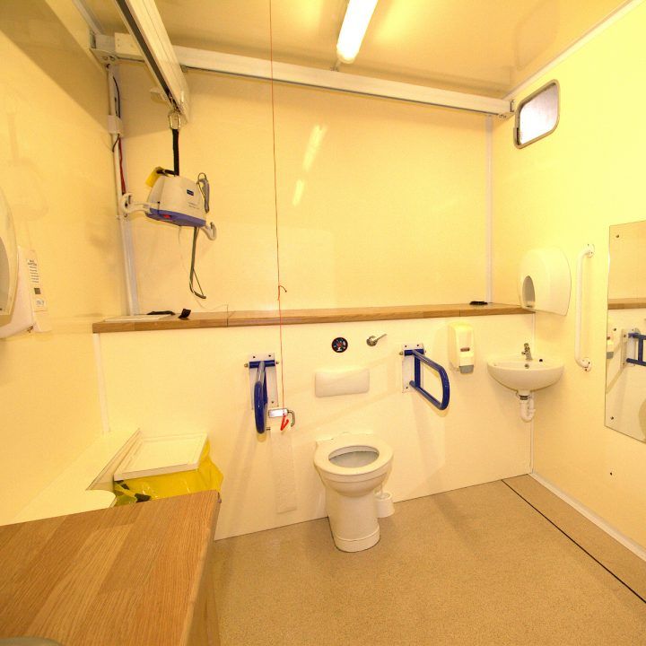 Inside High dependency Trailer toilet for hire
