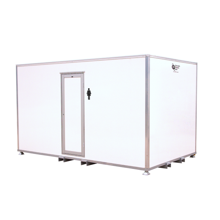 Female 5 Bay VacPOD Festivals Concerts Container Toilets Hire Service Delivery